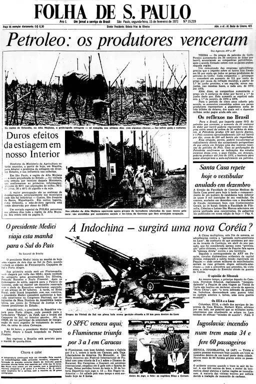 Primeira Página da Folha de 15 de fevereiro de 1971