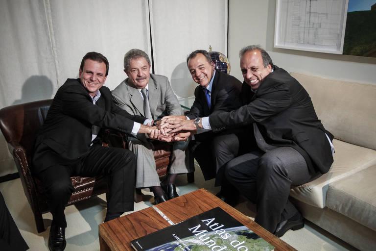 Em outubro de 2012, Paes visita o ex-presidente Lula, com Cabral e Pezão, para agradecer apoio a sua reeleição à Prefeitura do Rio