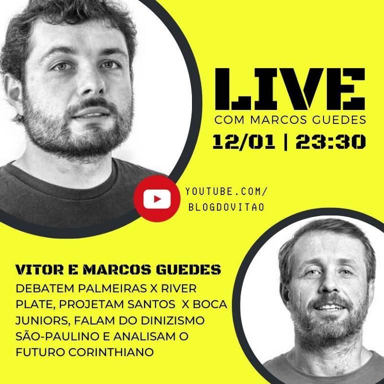 O colunista Vitor Guedes entrevista o jornalista da Folha Esporte Marcos Guedes no seu blog no YouTube