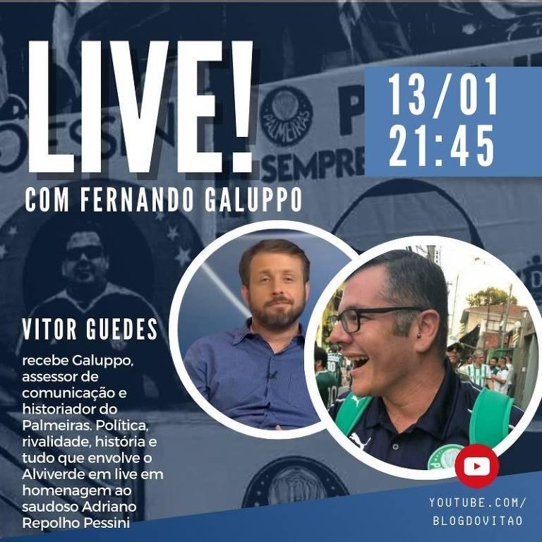 O colunista Vitor Guedes entrevista o jornalista e historiador do Palmeiras Fernando Galuppo no seu blog no YouTube