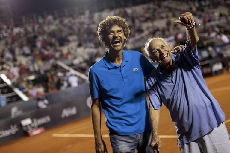 Braguinha ao lado de Guga no Rio Open de 2015