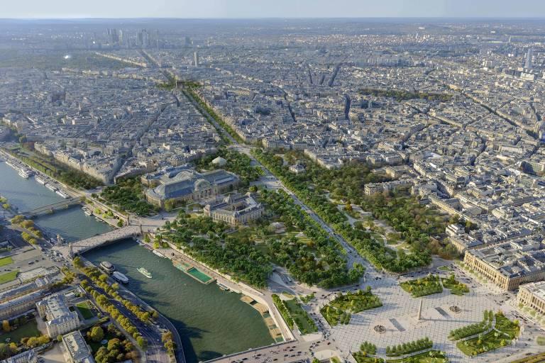 Vista aérea de cidade com rio e avenida
