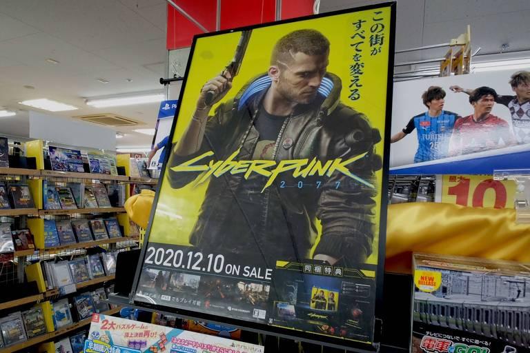 Anúncio de lançamento do Cyberpunk 2077 em uma loja de Tóquio
