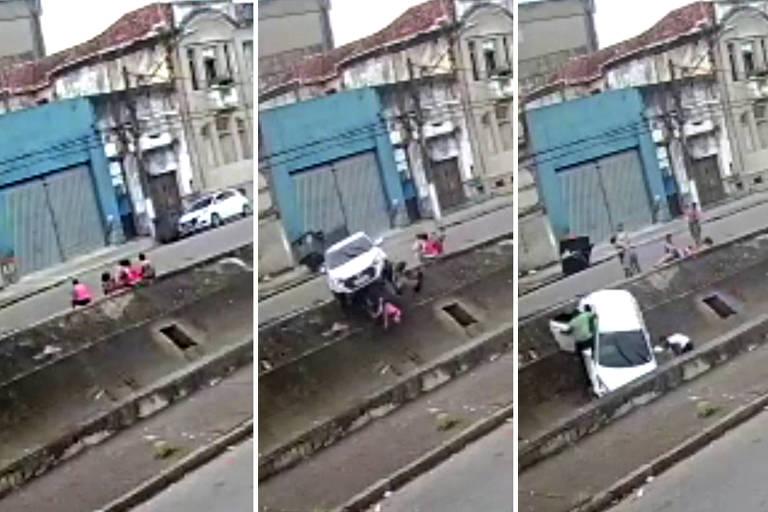 câmeras de monitoramento flagram o momento em que um motorista perdeu o controle de um carro e atropelou quatro pessoas da mesma família em Santos, no litoral de São Paulo