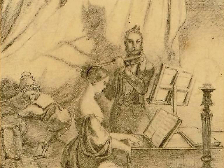 """""""Das Klavierspiel"""", desenho do poeta e pintor alemão Carl Spitzweg"""