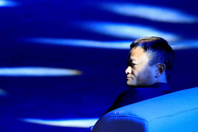 O empresário e executivo chinês Jack Ma em uma conferência em Xangai