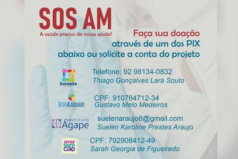 campanha de doações para Manaus
