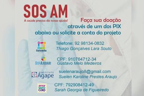 Voluntários fazem campanha para ajudar unidades de saúde de Manaus (AM)