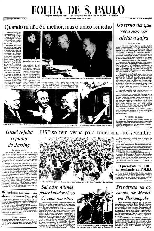 Primeira Página da Folha de 16 de fevereiro de 1971
