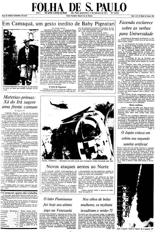 Primeira Página da Folha de 17 de janeiro de 1971