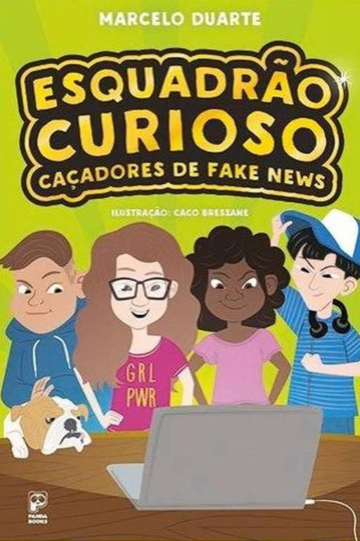 O livro mostra quatro personagens olhando para um computador