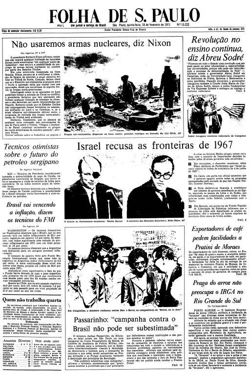 Primeira Página da Folha de 18 de fevereiro de 1971