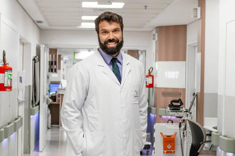 O cardiologista Leandro Rubio Faria no hospital Samaritano, criador da plataforma Missao Covid-19