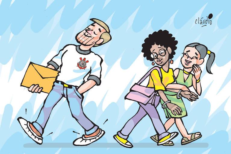 charge com vitão com camisa do corinthians sendo olhado na rua por duas meninas