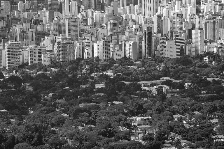 Vista da cidade mostra o bairro dos Jardins, com muito verde e casas, e atrás prédios
