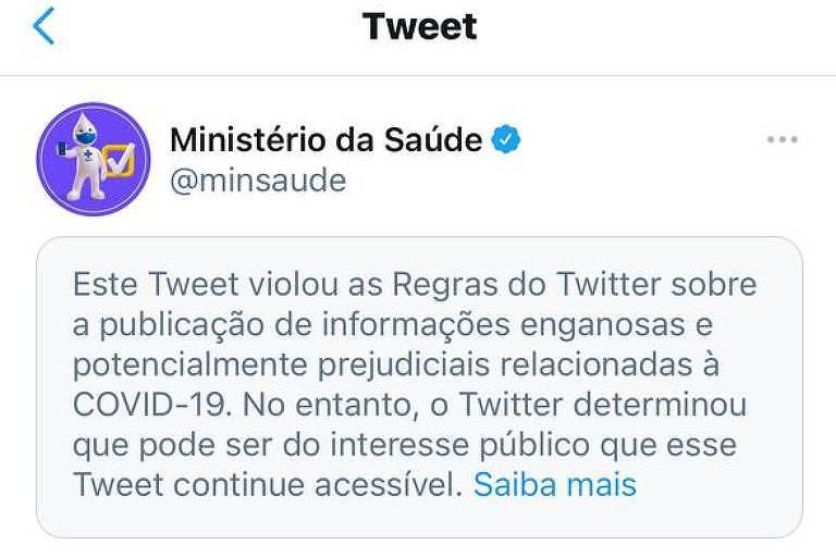 Twitter marca publicação do Ministério da Saúde sobre tratamento precoce como enganosa