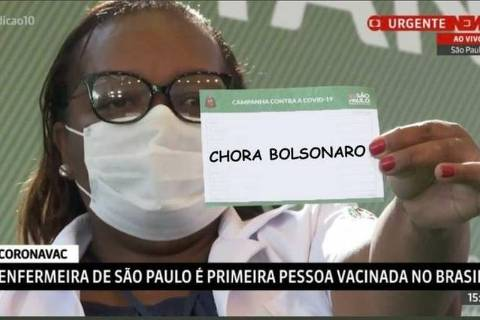No Twitter, internautas satirizam Bolsonaro após a primeira vacinação do país