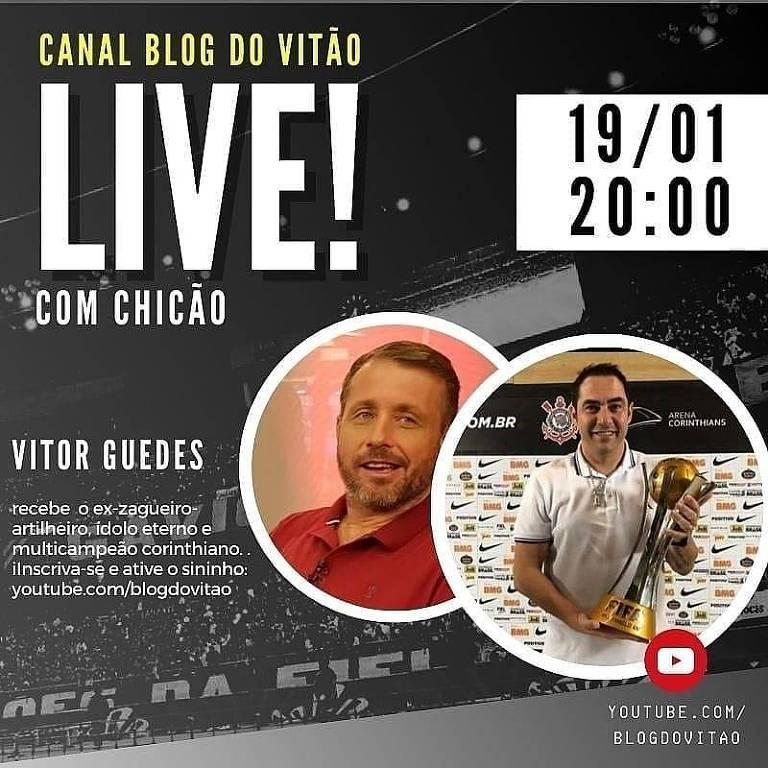 Live do colunista com o ex-zagueiro corintiano Chicão