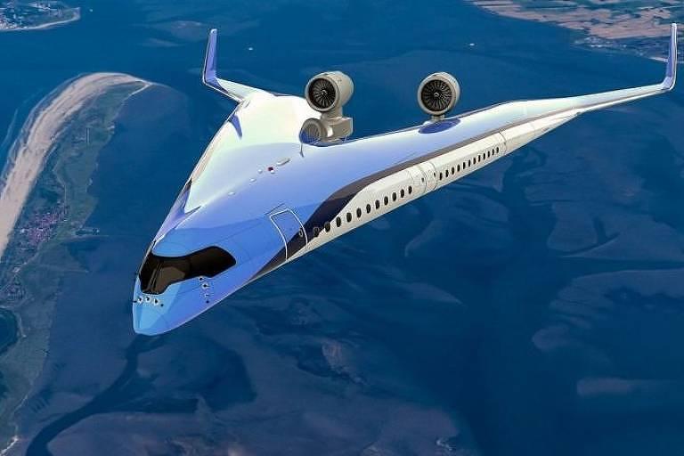 O projeto do Flying-V veria os passageiros transportados nas asas da aeronave