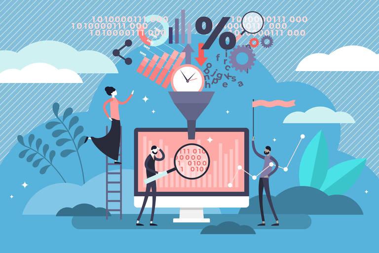 Ilustração. Fundo azul com nuvens em tons diferentes, uma tela de computador no meio com um funil em cima dele. No funil, símbolos de hora, dados e informações e pessoas ao redor do computador