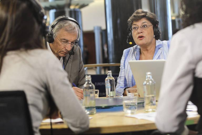 A candidata à Presidência de Portugal Ana Gomes durante debate em evento realizado no Parlamento Europeu, em Bruxelas