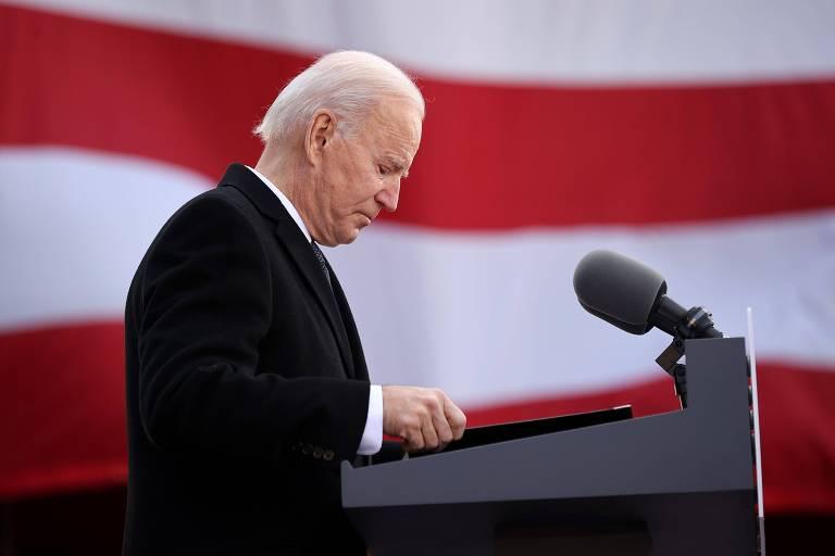 O presidente eleito dos EUA, Joe Biden, discursa no estado de Delaware