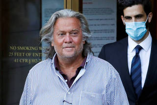 FILE PHOTO: Former White House Chief Strategist Steve Bannon exits the Manhattan Federal Court in New York City