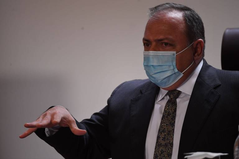 Minister of Health during a press conference in Rio de Janeiro in January 2021.