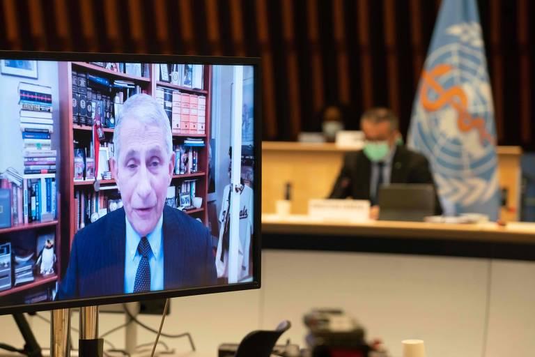 Durante reunião da OMS em Genebra, Anthony Fauci (em transmissão online) anuncia que os EUA vão permanecer na entidade e passarão a integrar o Covax