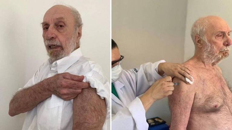 Paulo Cesar Pereio recebe vacina da Covid-19 no Retiro dos Artistas, o ator tem 80 anos