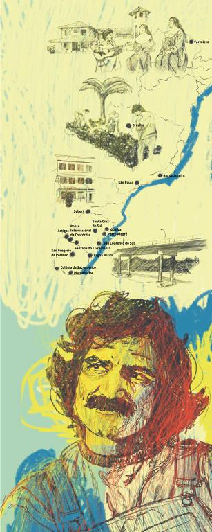 Ilustração onde abaixo tem um retrato do cantor em diversas cores, olhando pra cima., onde há um mapa com algumas cidades do Brasil por onde ele passou anos antes de sua morte. Há também cenas de alguns momentos