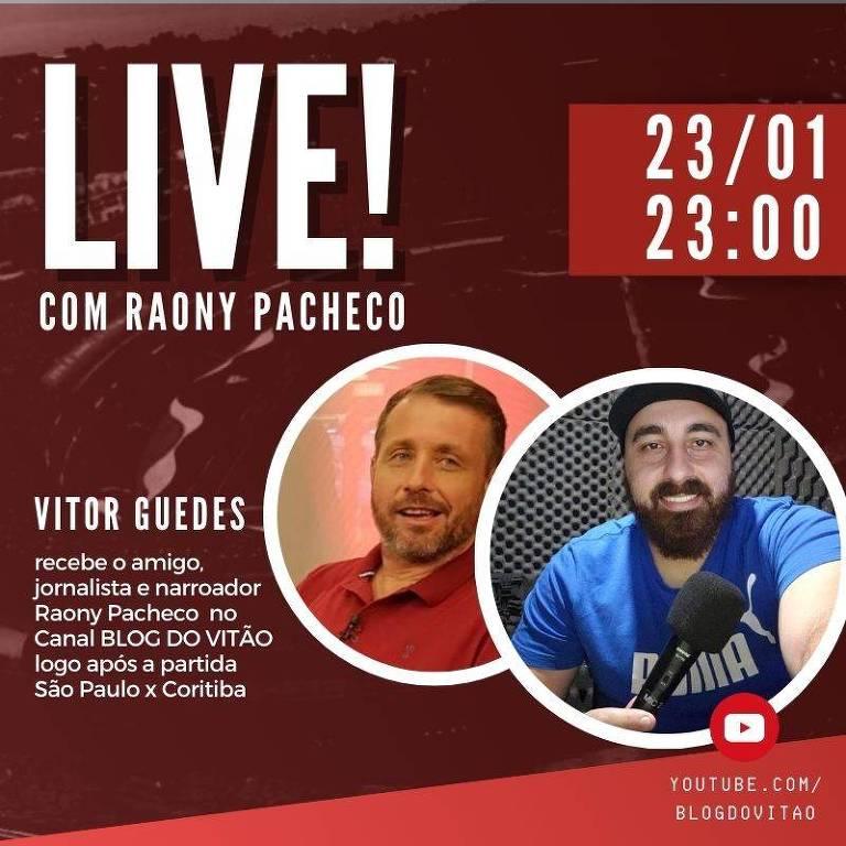 Ilustração do convite da Live do colunista Vitor Guedes com o narrador Raony Pacheco