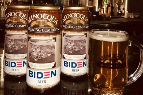 Biden Beer, uma kolsch beer da Minocqua Brewing Company, em Wisconsin