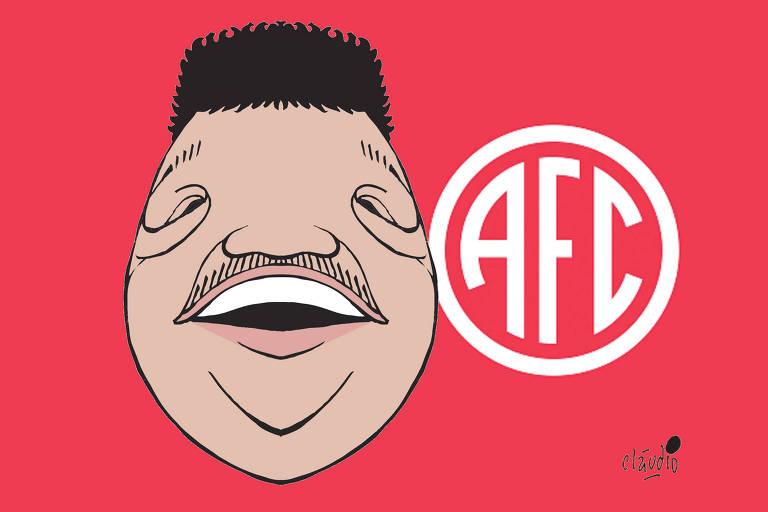 charge com a caricatura de Tim Maia e o escudo do clube América-RJ