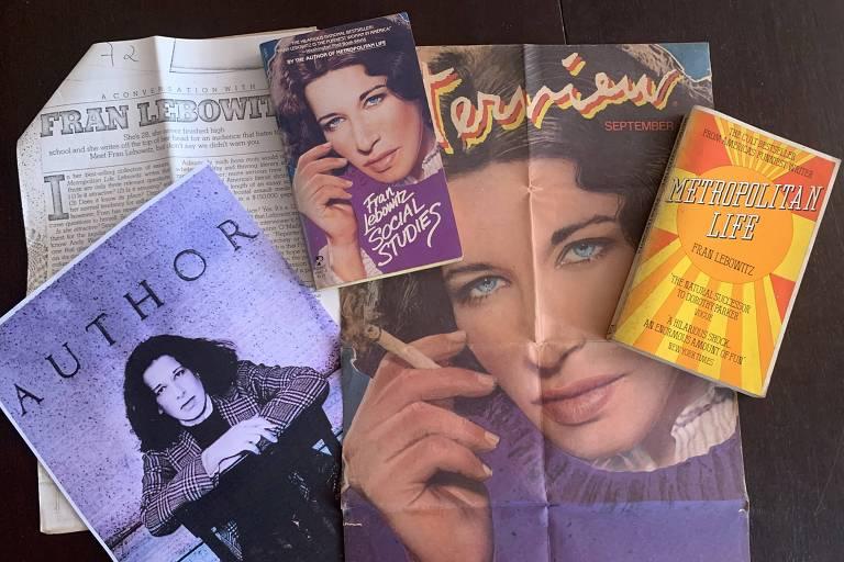 Entrevista, foto, capa de revista e edições originais de Fran Lebowitz por volta de 1980