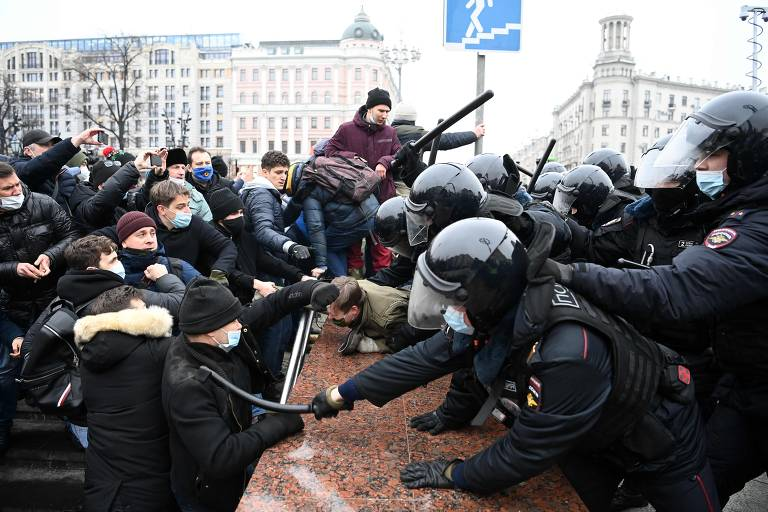 Protesto contra prisão de Alexei Navalni