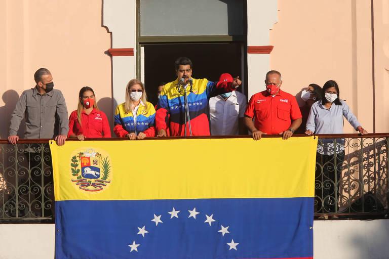 O ditador Nicolás Maduro em discurso para apoiadores