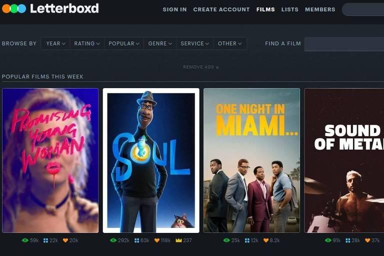 Rede social de cinema Letterboxd