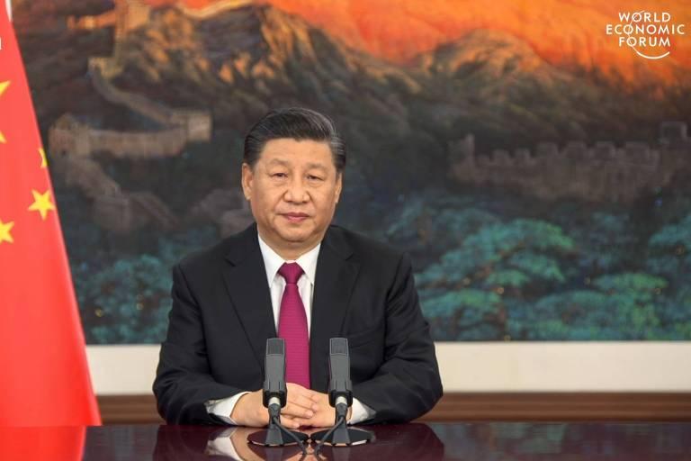 Xi Jinping fala no vídeo enviado para a abertura do Fórum Econômico Mundial