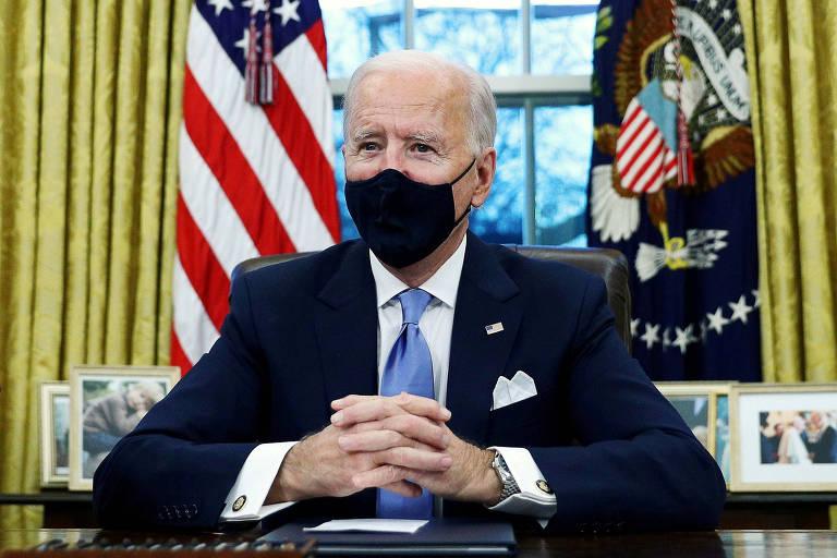O presidente dos Estados Unidos, Joe Biden, durante cerimônia no Salão Oval da Casa Branca