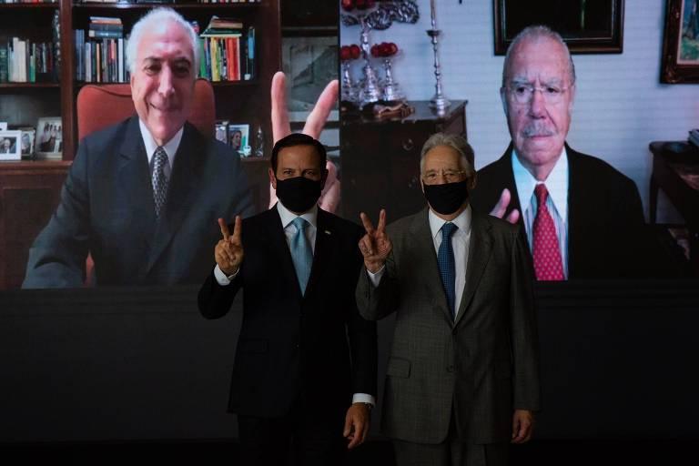 Foto de ex-presidentes com o governador João Doria (PSDB), em evento no Palácio dos Bandeirantes