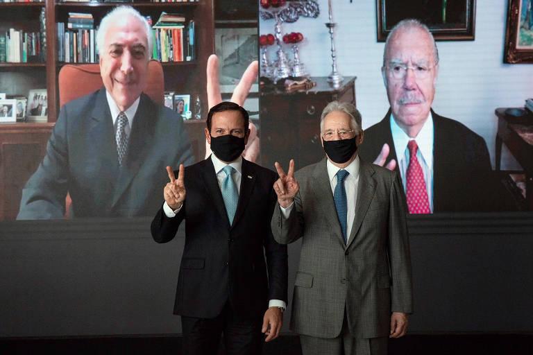 João Doria recebe os ex-presidentes Fernando Henrique Cardoso e, online, Michel Temer e José Sarney