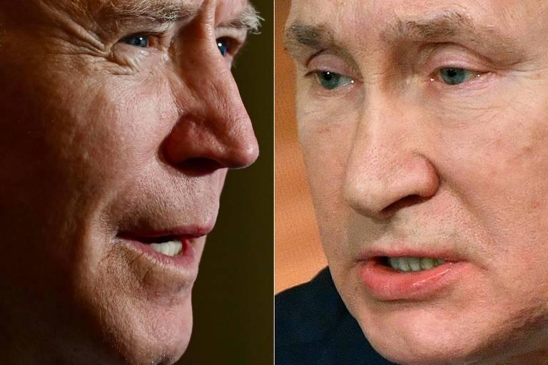 Os presidentes Joe Biden e Vladimir Putin, que conversaram pela primeira vez após a posse do americano