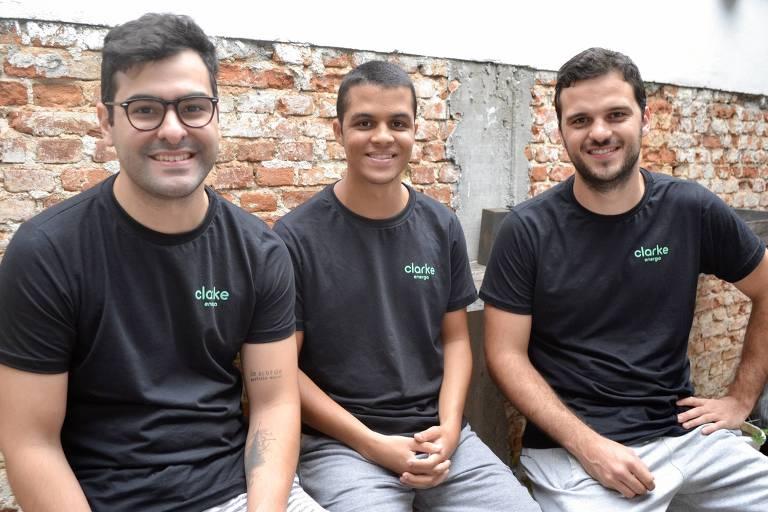 Os fundadores da Clarke, Pedro Rio, Victor Copque e Rodrigo Camargo