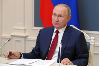 Russia's President Putin attends a video conference during the World Economic Forum (WEF) of the Davos Agenda, in Moscow