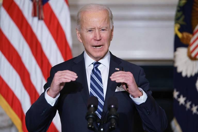 Joe Biden durante entrevista coletiva sobre o pacote de medidas para enfrentar a crise climática
