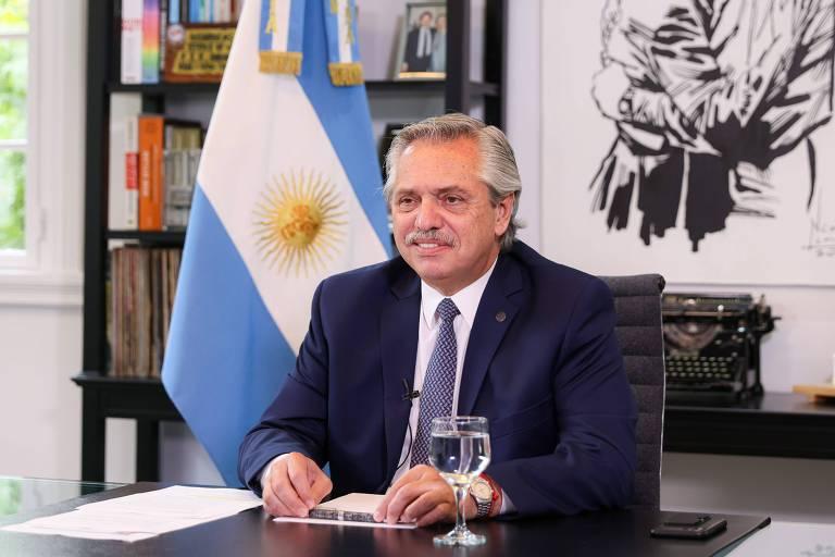 O presidente da Argentina, Alberto Fernández, durante edição virtual  na edição virtual do Fórum Econômico Mundial de Davos