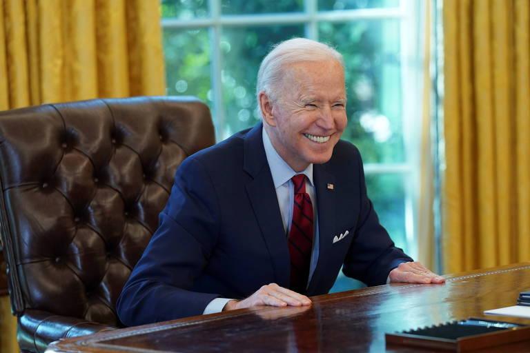 O presidente dos EUA, Joe Biden, após assinar ordem executiva relacionada ao sistema de saúde