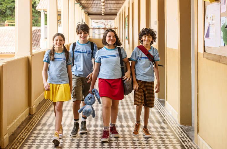 Mônica (GiuliaBenite), Cebolinha (KevinVechiatto), Magali (LauraRauseo) e Cascão (Gabriel Moreira)