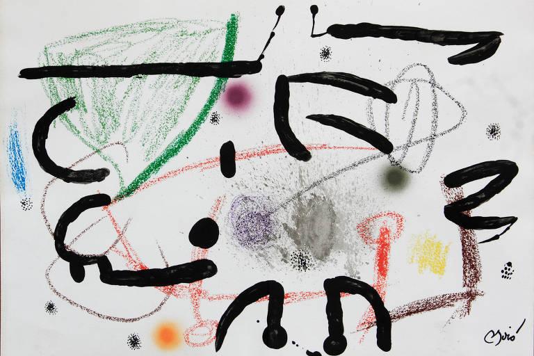 Obra que integra a mostra 'O Jardim das Maravilhas de Miró' no Farol Santander